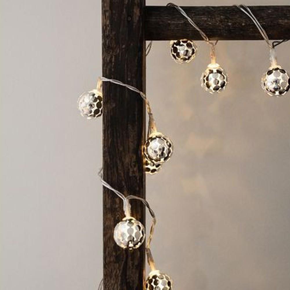 Silver Globe String Lights Kikkerland : Little Globe LED Fairy Lights Silver Kikkerland Design Children