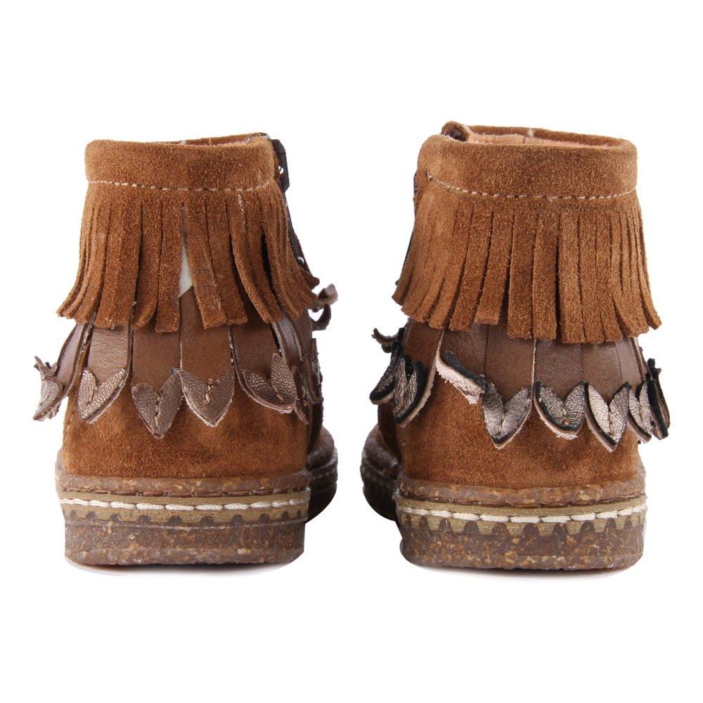 fringe suede zip up boots camel ocra shoes children