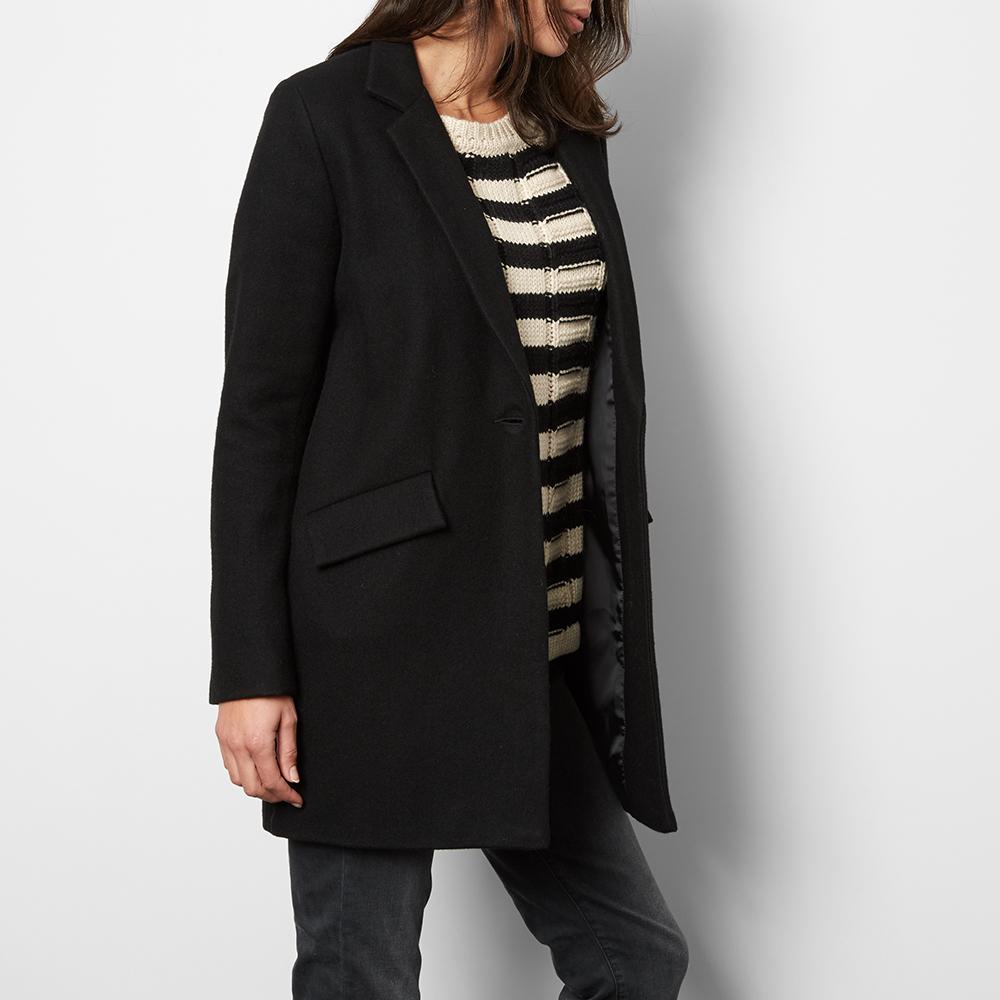 manteau laine hello dol noir sessun mode adolescent adulte. Black Bedroom Furniture Sets. Home Design Ideas