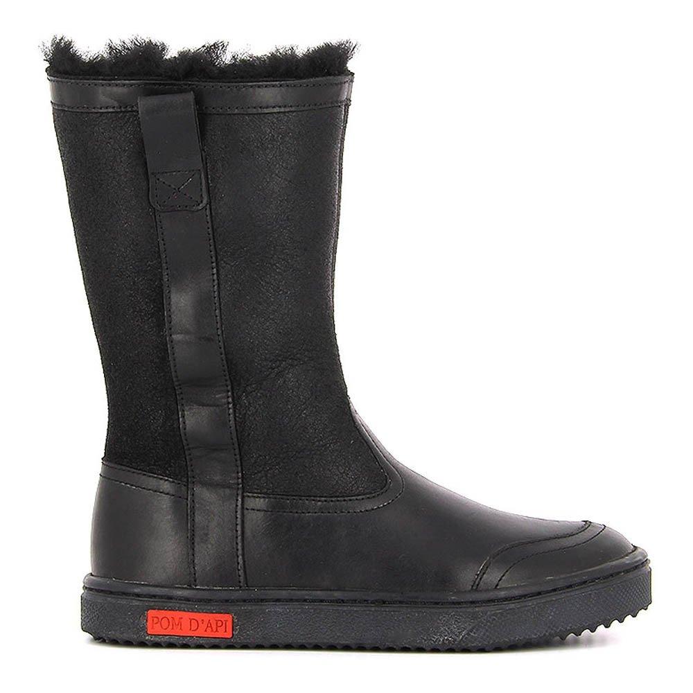 bottes cuir zip fourr es back noir pom d 39 api chaussure enfant. Black Bedroom Furniture Sets. Home Design Ideas