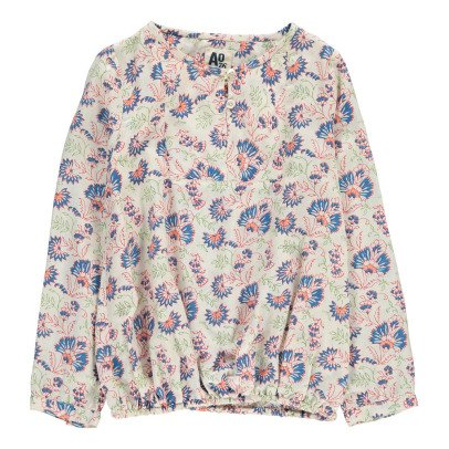 Clover Pattern Button Up Angele Blouse Ecru Louis Louise