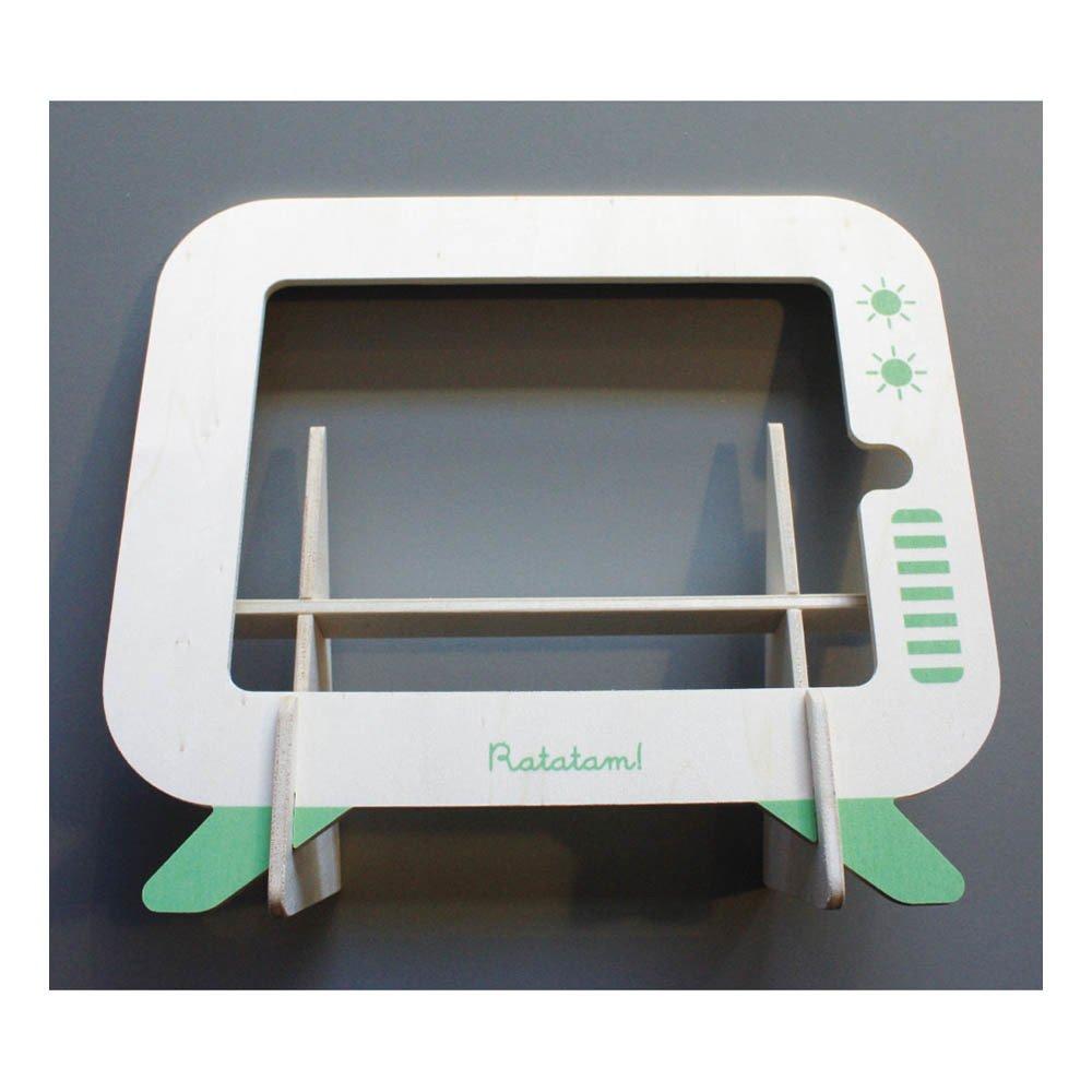 Porte tablette en bois vert ratatam design enfant for Porte tablette