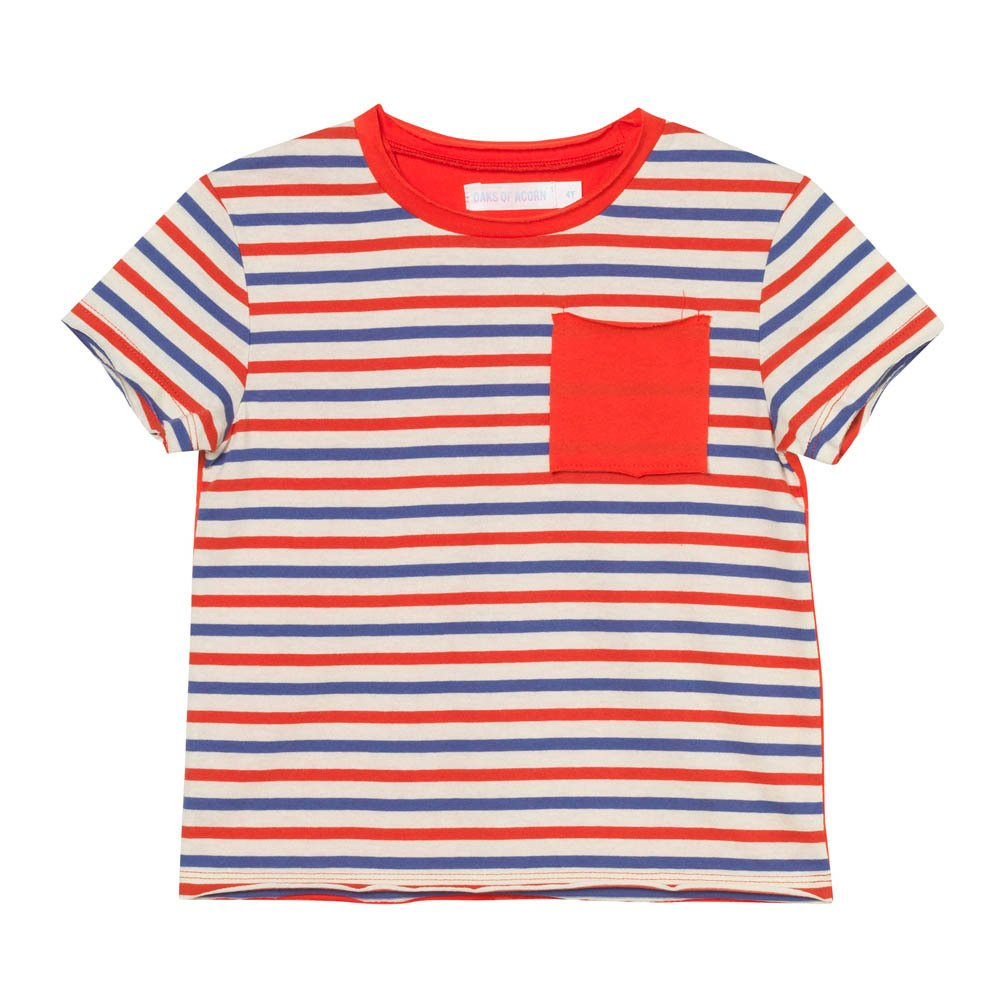 central pocket striped t shirt red oaks of acorn fashion