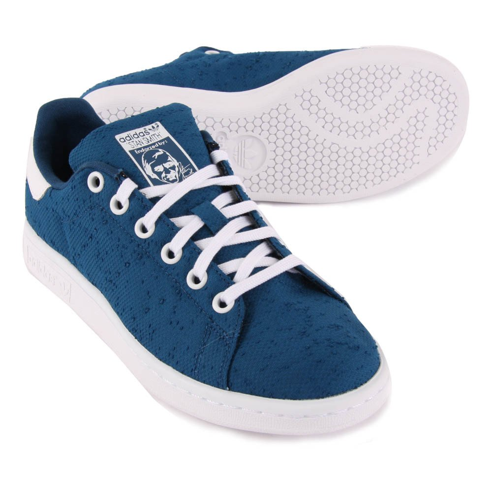 canvas lace up stan smith trainers navy blue navy blue adidas