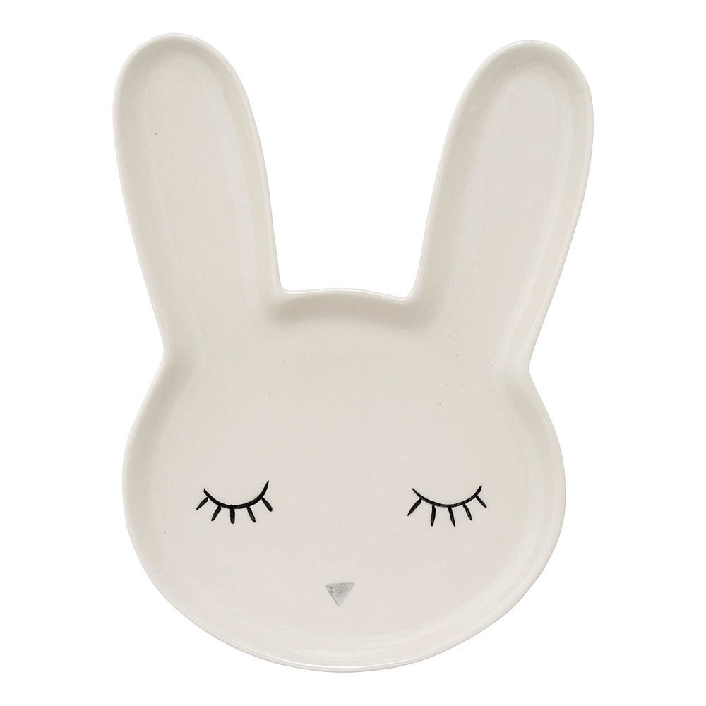 assiette en gr s lapin blanc bloomingville kids design enfant. Black Bedroom Furniture Sets. Home Design Ideas