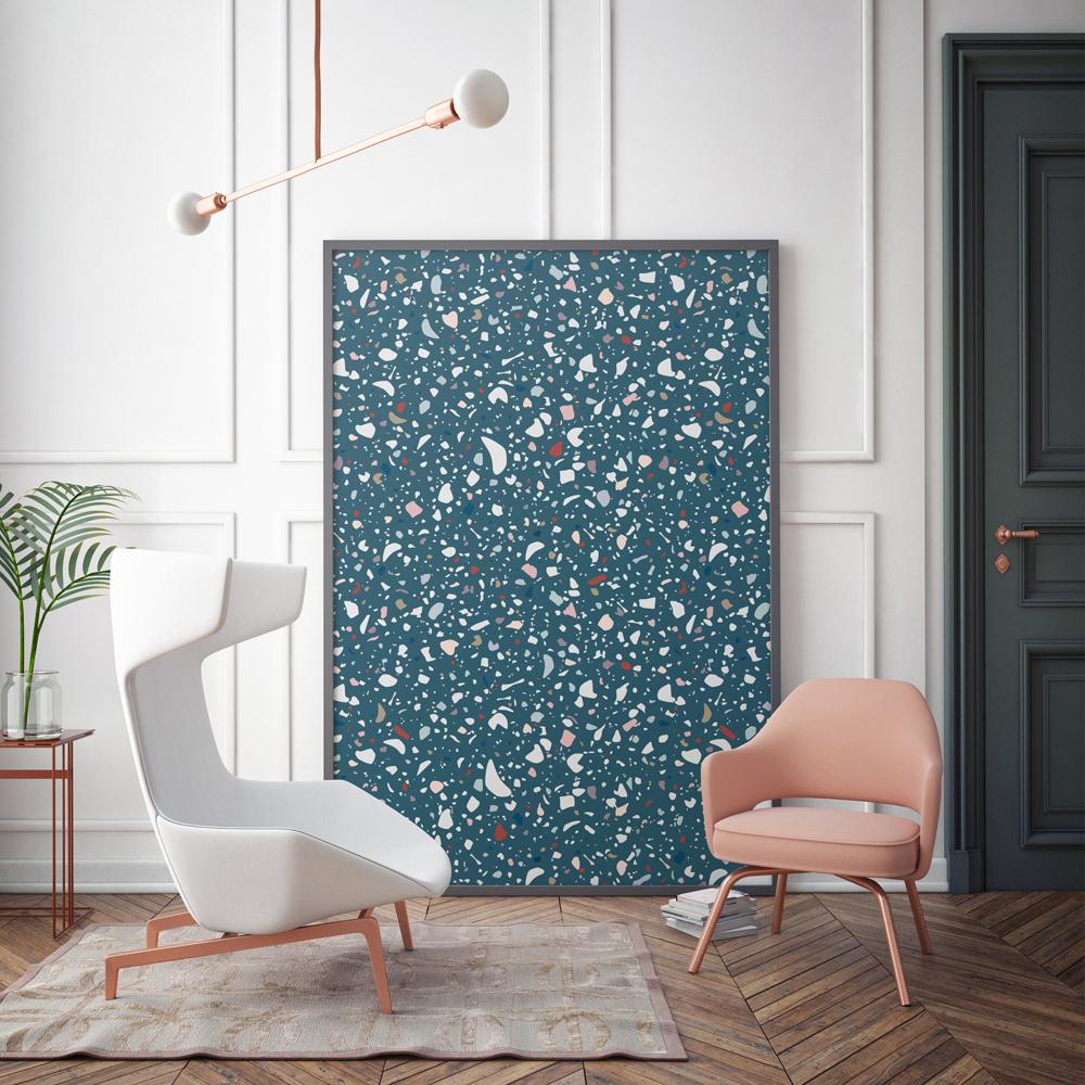papier peint granite premium bleu p trole papermint design. Black Bedroom Furniture Sets. Home Design Ideas
