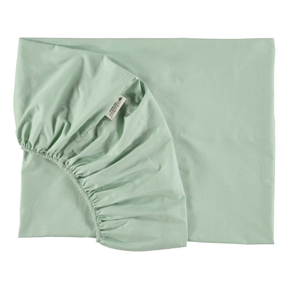 Drap housse alhambra en coton vert amande nobodinoz design for Taille drap housse