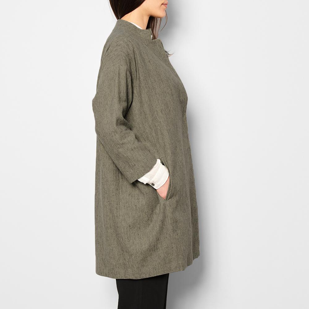 mantel aus baumwolle und leinen oversize grau pomandère mode, Hause ideen