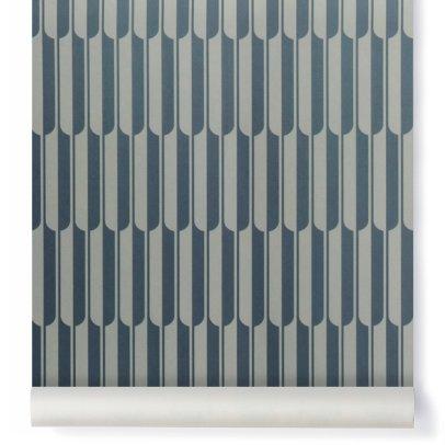 Papier peint jungle 0 7x10 m bleu petite friture design - Papier peint motief graphique ...
