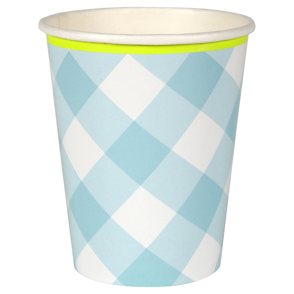 Gobelets Vichy en carton - Set de 12 Bleu Meri Meri Design Enfant