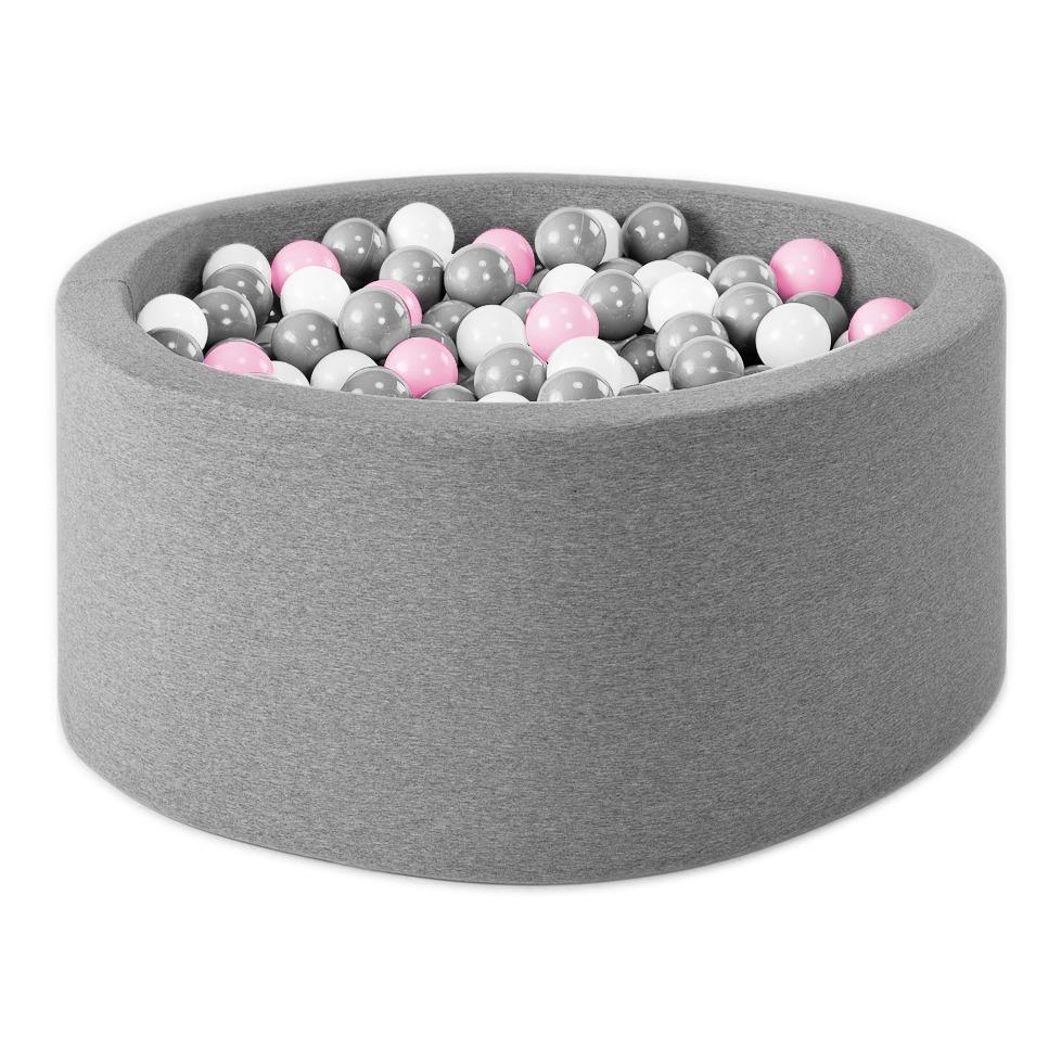 Piscine à balles rondes Roses, Argent, Blanc, Transparent Gris