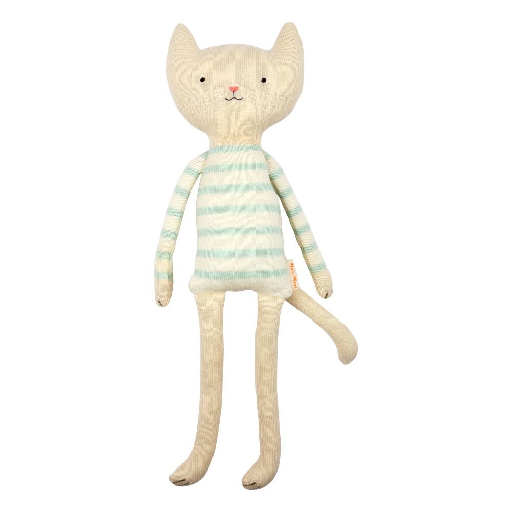 Doudou petit chat en coton organique Ecru Meri Meri Jouet et