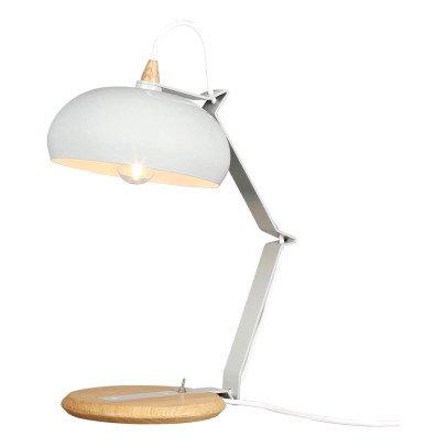 Lampada da tavolo Rhoda - rovere e metallo grigio