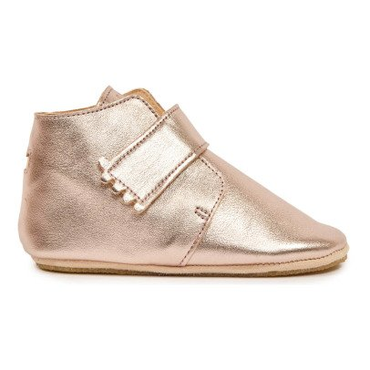 Pantofole Pelle Suola Kiny Teddy Metallo