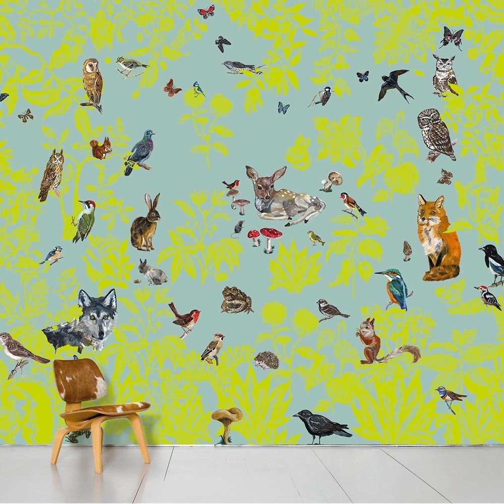 Papel pintado infantil con pájaros