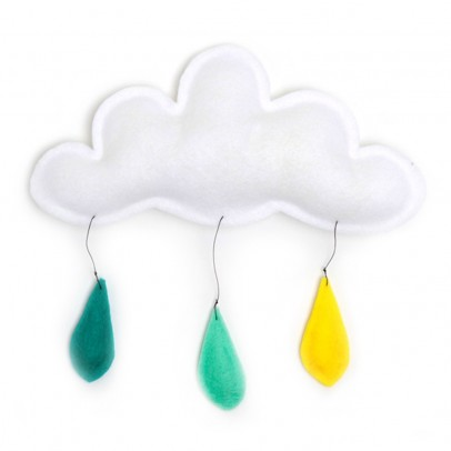 The Butter Flying Cloud mobile rain of color yellow/mint/turquoise-listing