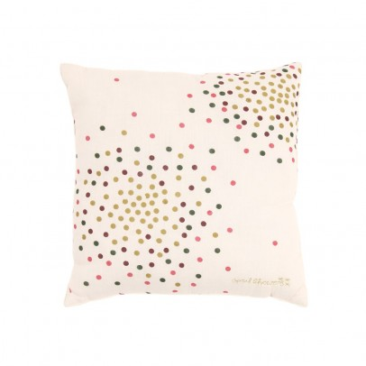 Polder Girl Ecru Embellished Cushion - Multicoloured Dots-listing