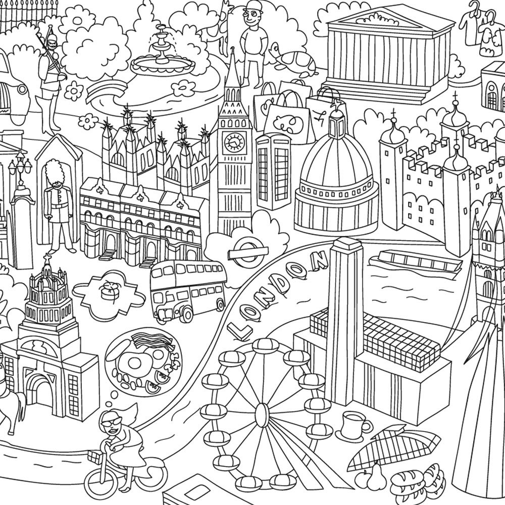 The coloring book poster - Paris Giant Colouring Poster Product