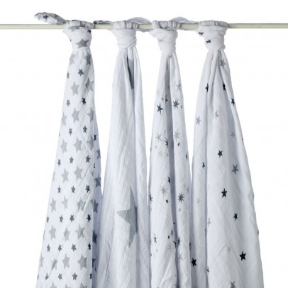 aden + anais  Maxi Swaddle - Grey Stars - Pack of 4-listing