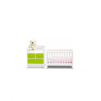 Lundby Cot and furniture with baby changing surface-listing
