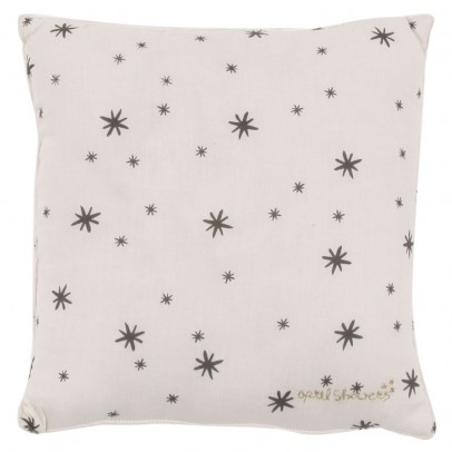 Polder Girl Ecru Embellished Cushion - Grey Stars-listing