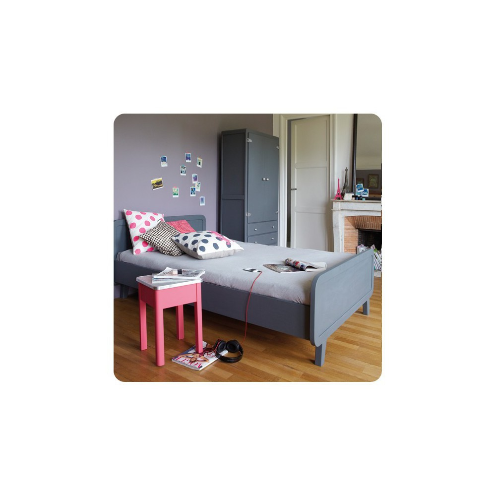 rundes bett 120x200 cm mausgrau laurette design teenager kind. Black Bedroom Furniture Sets. Home Design Ideas