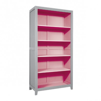 Laurette Parisian Bookcase - Light Grey/Vintage Pink-listing