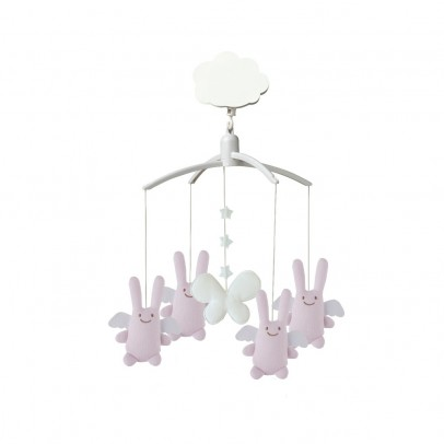 Trousselier Mobile musical Ange lapin rose-listing