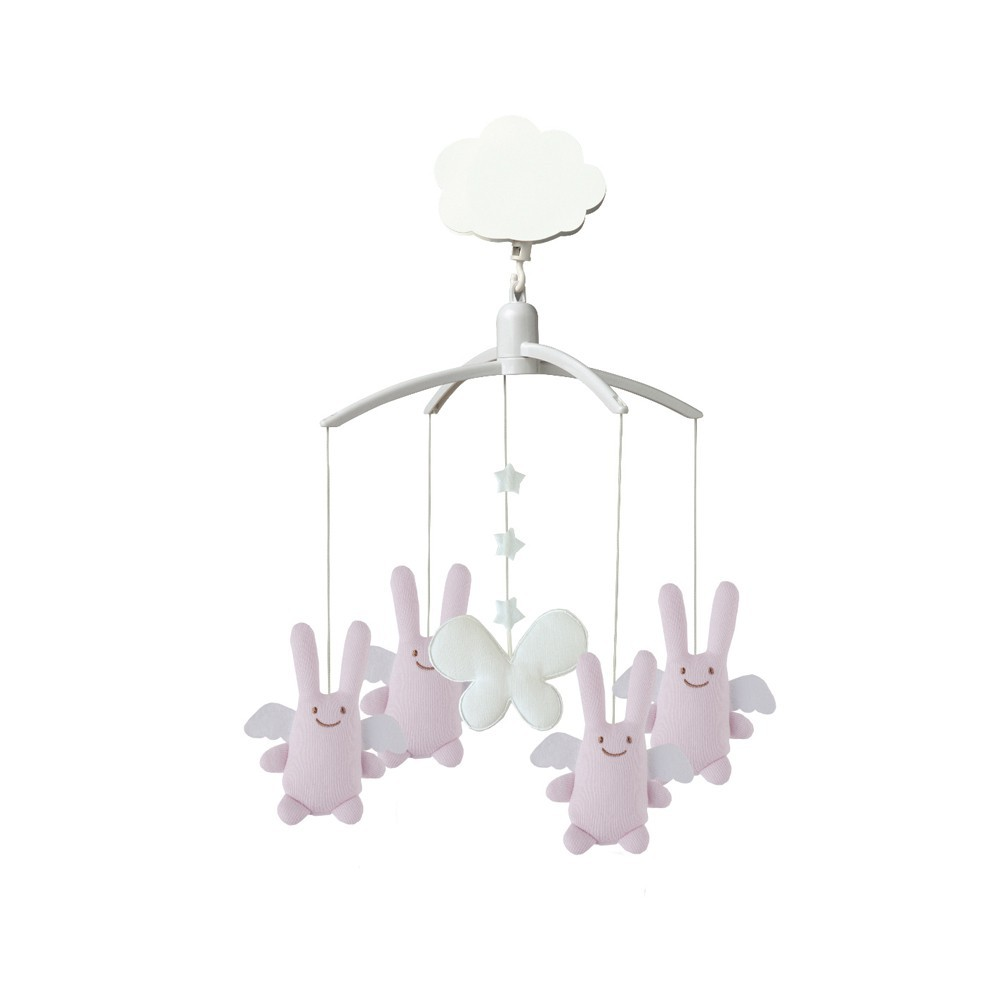 Mobile musical ange lapin rose trousselier design b b - Mobile musical bebe fille ...