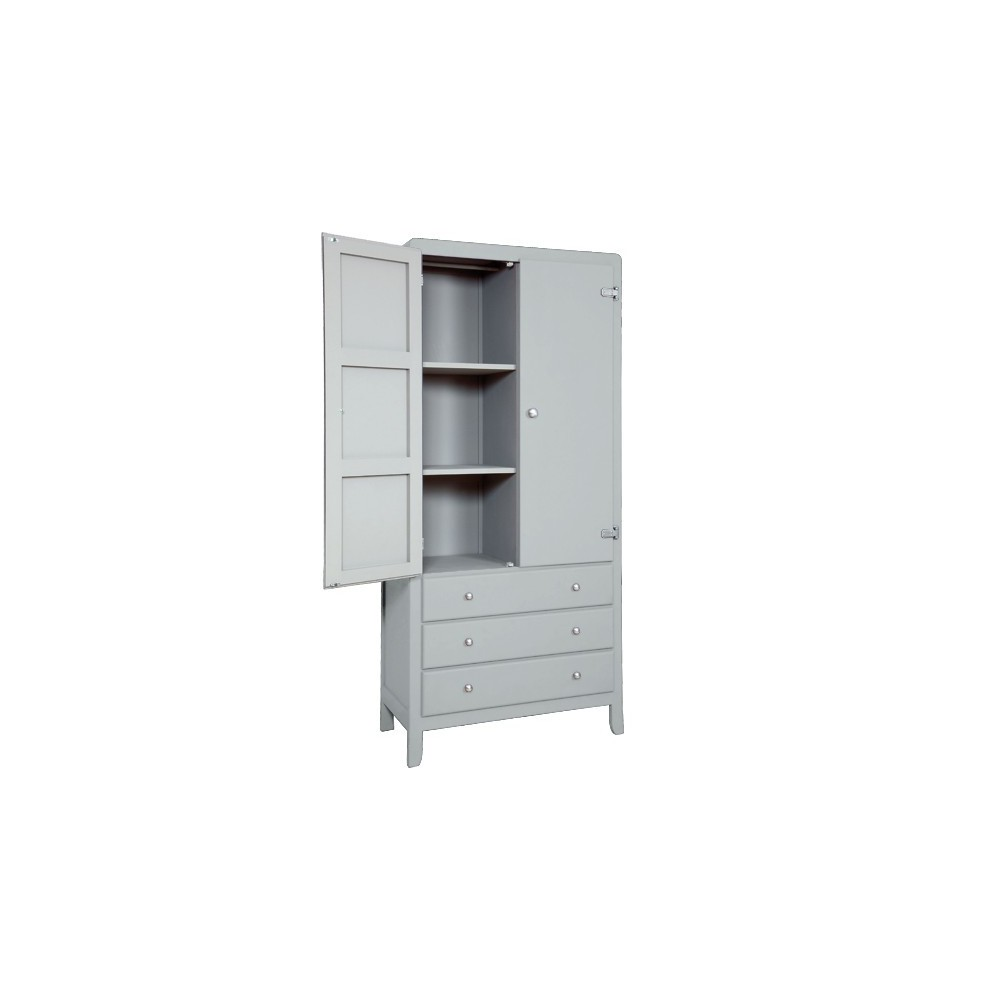 3 Shelf Wardrobe Light Grey Grey Laurette Design Children # Muebles Kutikai