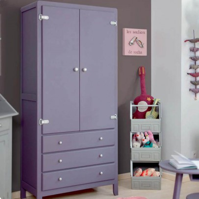Laurette 3 Shelf Wardrobe - Light Grey-listing