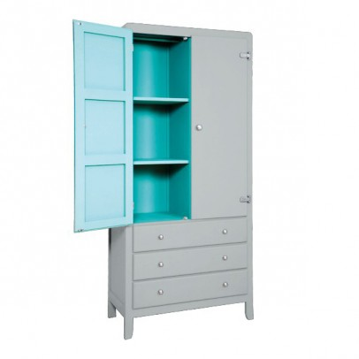 Laurette 3 Shelf Wardrobe - Light Grey/Turquoise-listing