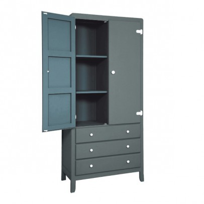 Laurette 3 Shelf Wardrobe - Dark Grey-listing
