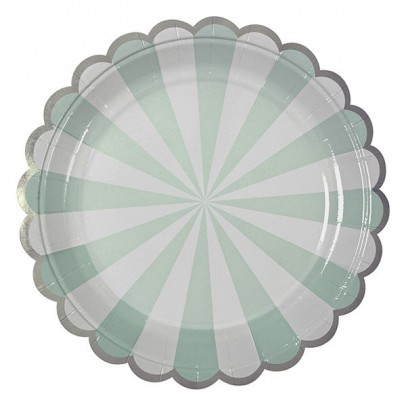 Meri Meri Green stripes paper plates - set of 8-product