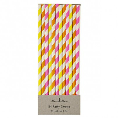 Meri Meri Neon striped straws - set of 24-listing