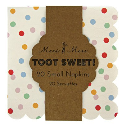 Meri Meri Toot Sweet Paper serviettes - multicoloured dots set of 20-listing