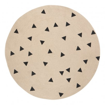 Ferm Living Kids Tapis rond triangles noirs D100 cm-listing