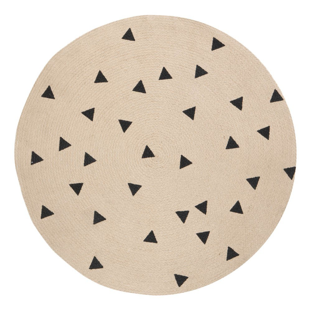 tapis rond triangles noirs d100 cm ferm living kids design enfant. Black Bedroom Furniture Sets. Home Design Ideas