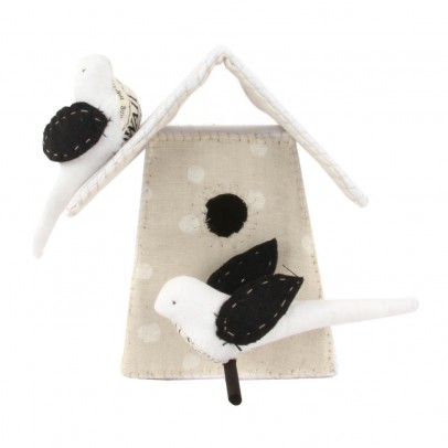 Tamar Mogendorff Polka dot Nesting Box with 2 birds - Black and White-listing
