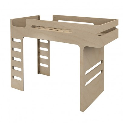 Lit mezzanine bas basic avec chelle et toboggan 90x200 cm blanc - Lit mezzanine double ...