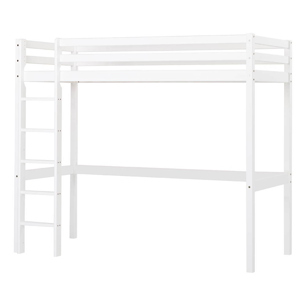 lit mezzanine haut basic avec chelle 90x200 cm blanc. Black Bedroom Furniture Sets. Home Design Ideas
