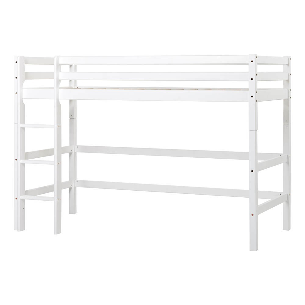 lit mezzanine mi haut basic avec chelle 90x200 cm blanc. Black Bedroom Furniture Sets. Home Design Ideas