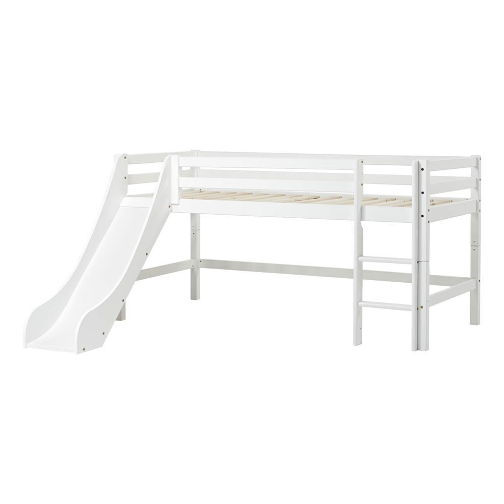 lit mezzanine bas basic avec chelle et toboggan 90x200 cm blanc. Black Bedroom Furniture Sets. Home Design Ideas