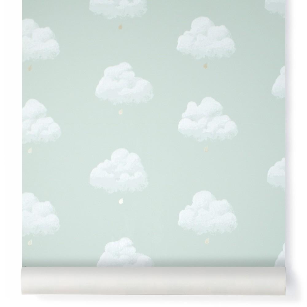 Carta da parati nuvole di cotone verde acqua bartsch design for Carta parati verde