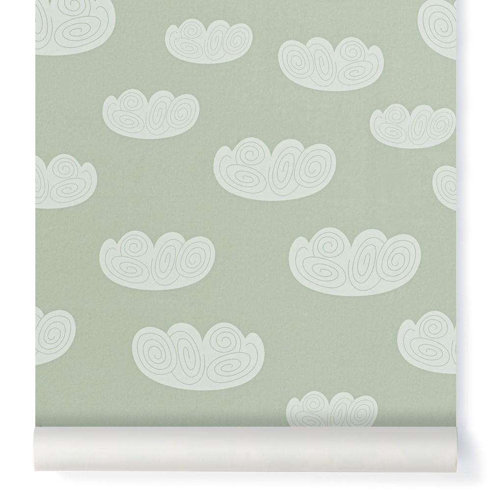 Papel pintado Nube - Verde menta Ferm Living Kids Design Infantil