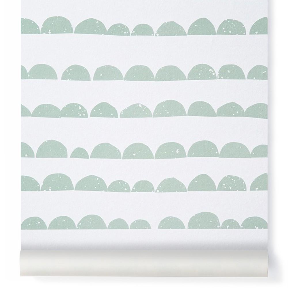 Papier peint demi lune vert menthe ferm living kids design - Tapete skandinavisch ...