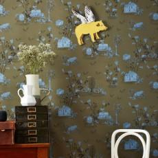 Papier peint the wild 273x280 cm 3 l s blanc bien fait design - Papier peint vert kaki ...