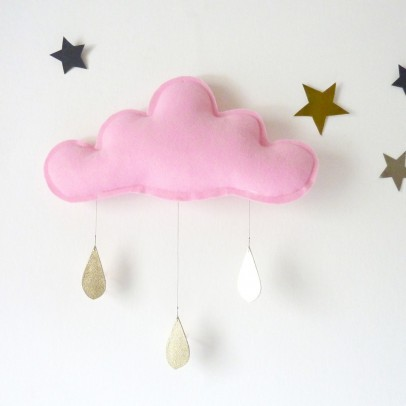 The Butter Flying Light pink cloud with Gold Raindrops Mobile-listing