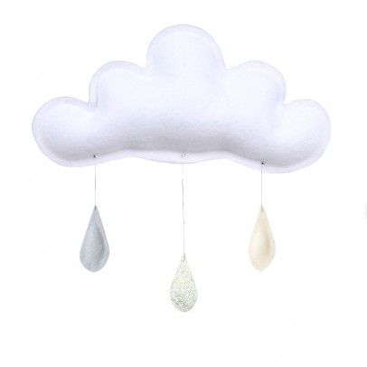 The Butter Flying Grey Raindrops Mobile - Gold - Cream-listing