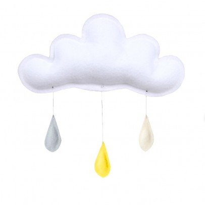 The Butter Flying Grey Raindrops Mobile - Yellow - Cream-listing